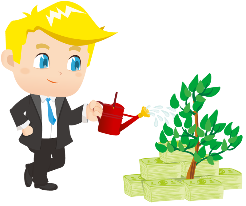 Money cartoon png. Businessman watering small plant