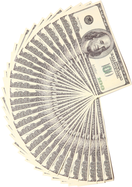 Money fan png. Cash half circle psd