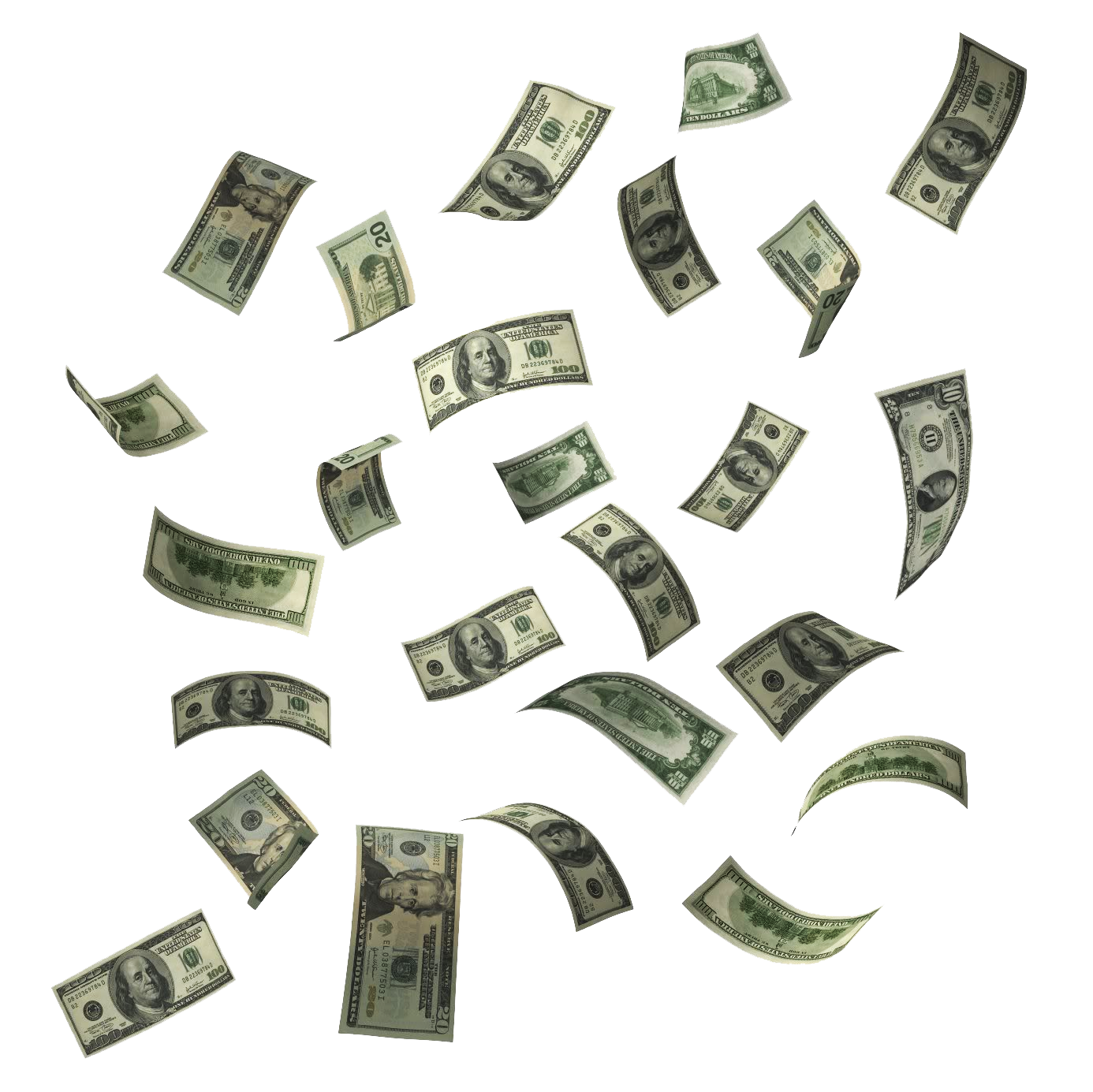 Dollar bills falling png. Make money hd image