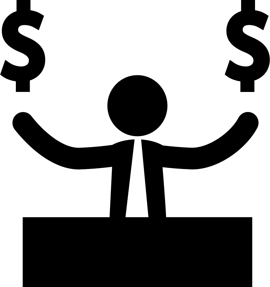 Businessman clipart. With dollar money signs