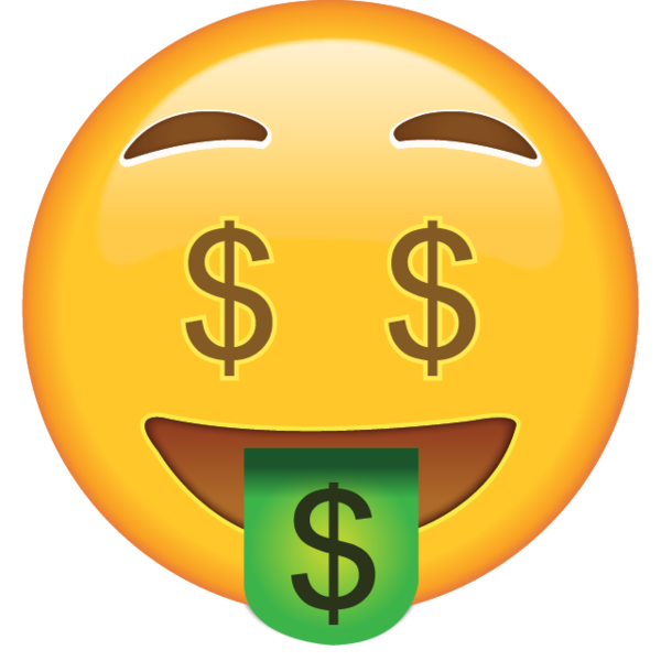 Emojis drawing flying money. Got on your mind