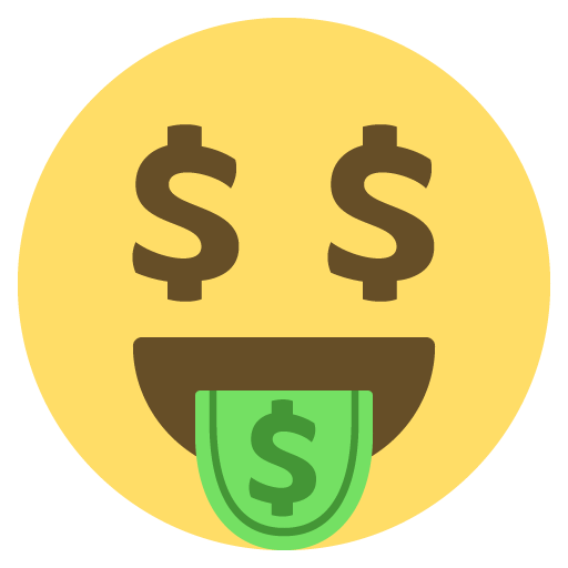 Money tongue emoji png. With wings for facebook