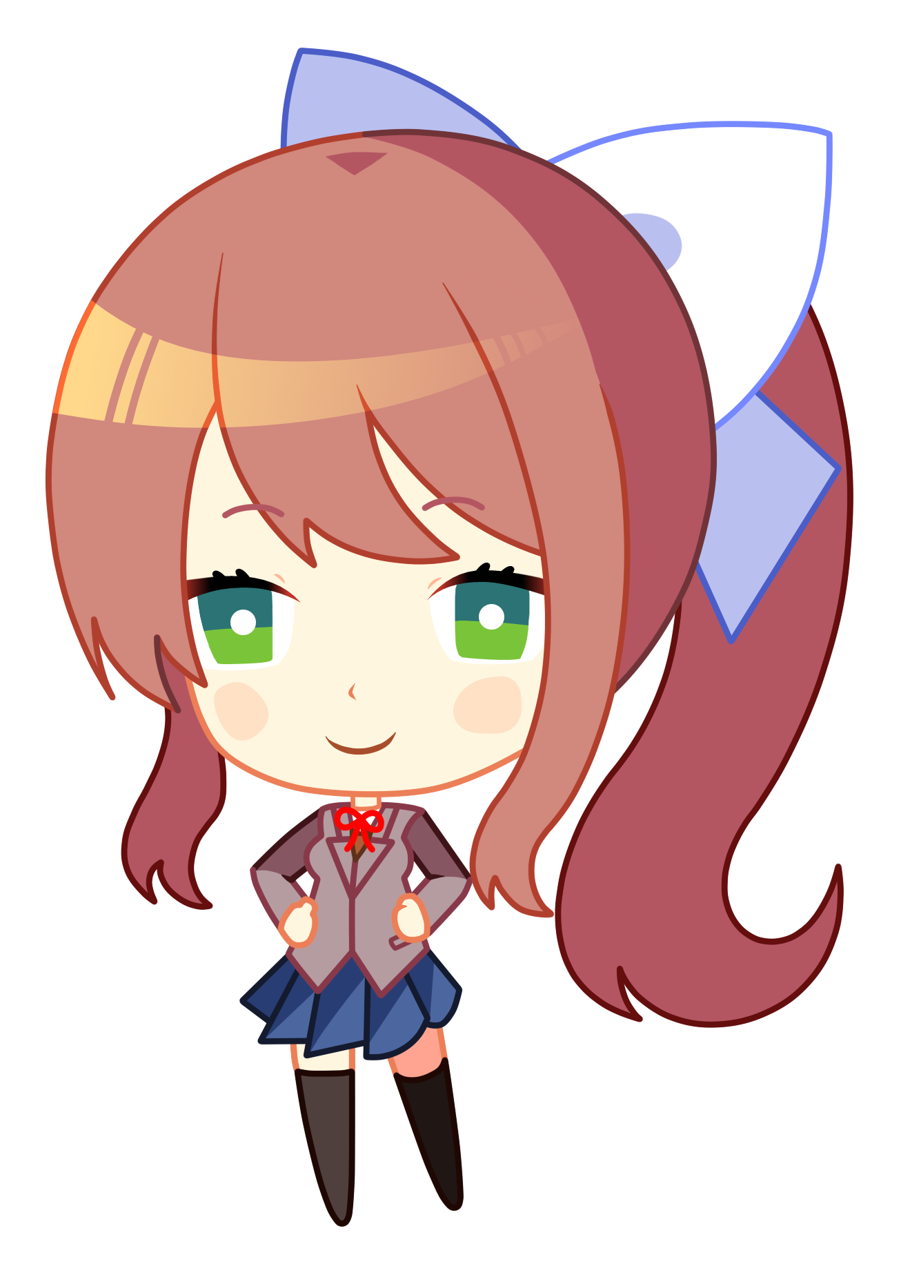 Monika chibi png. Updated hd remade for