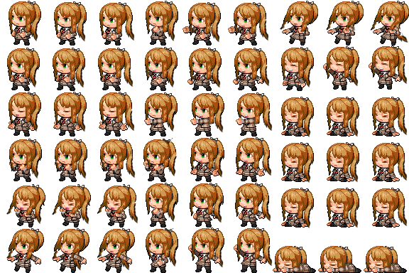 Monika png sprite. Battle sheet by goldfang