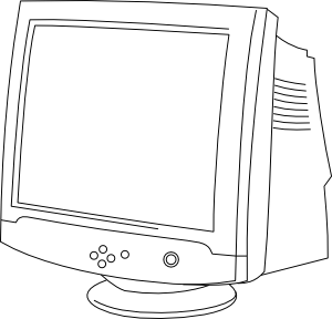 Outline computer monitor clip. Computers drawing banner transparent stock