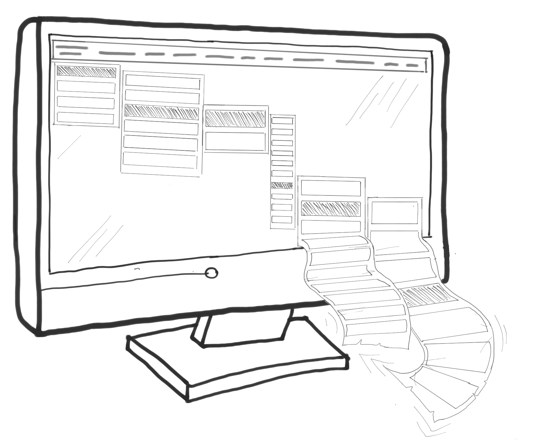 Monitor drawing video art. The simple website creator