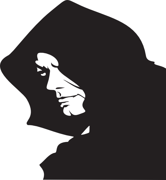 Monk vector hooded figure. Collection of free depraved