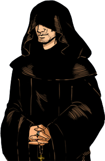 Monk vector hooded figure. Eustace the assassin s
