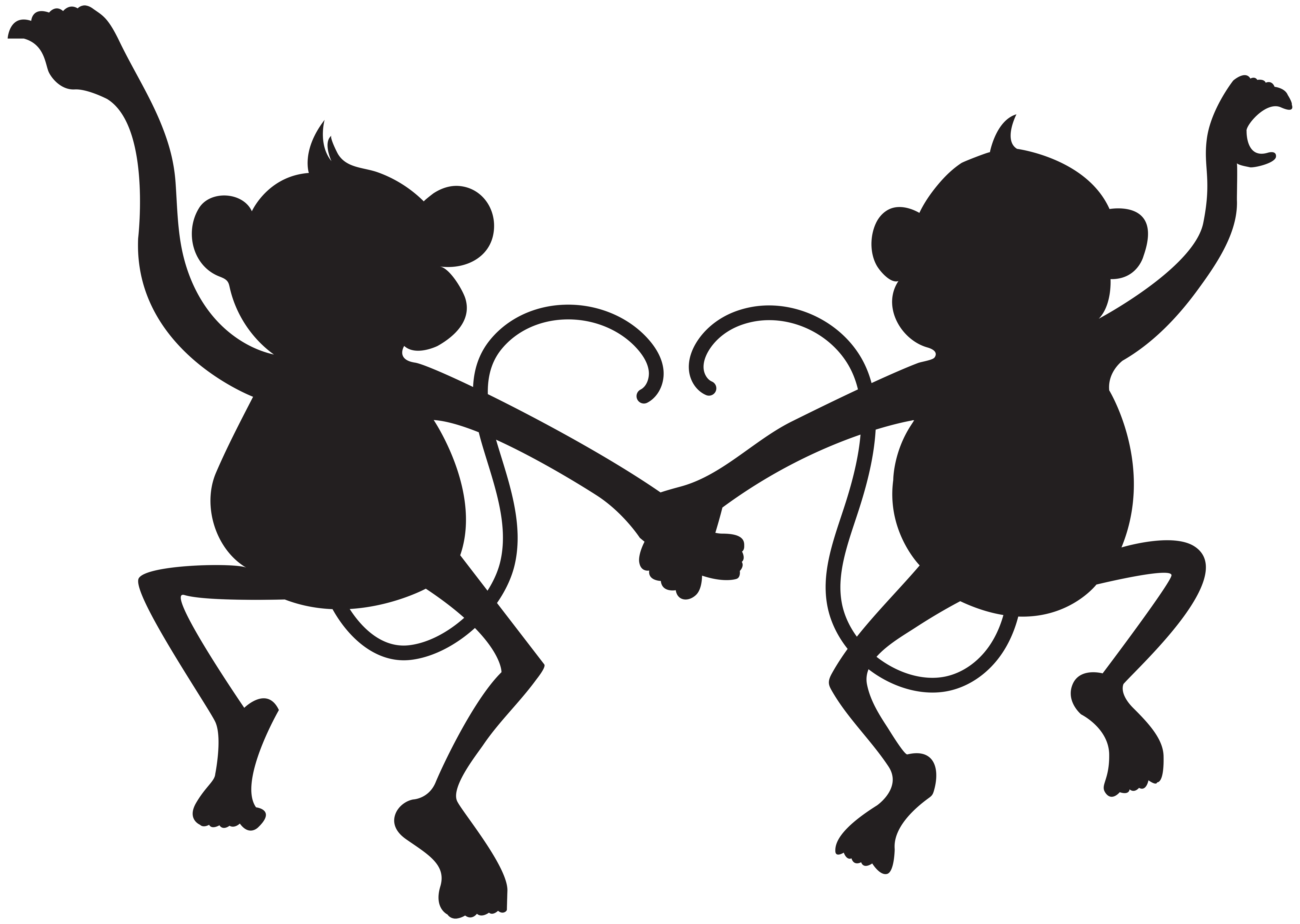 Monkey clipart silhouette. Clip art at getdrawings
