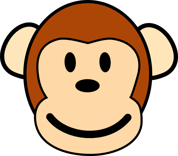 Monkey clipart. Cartoon stencil panda free