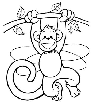 Monkey coloring for grown ups. Free pages animals
