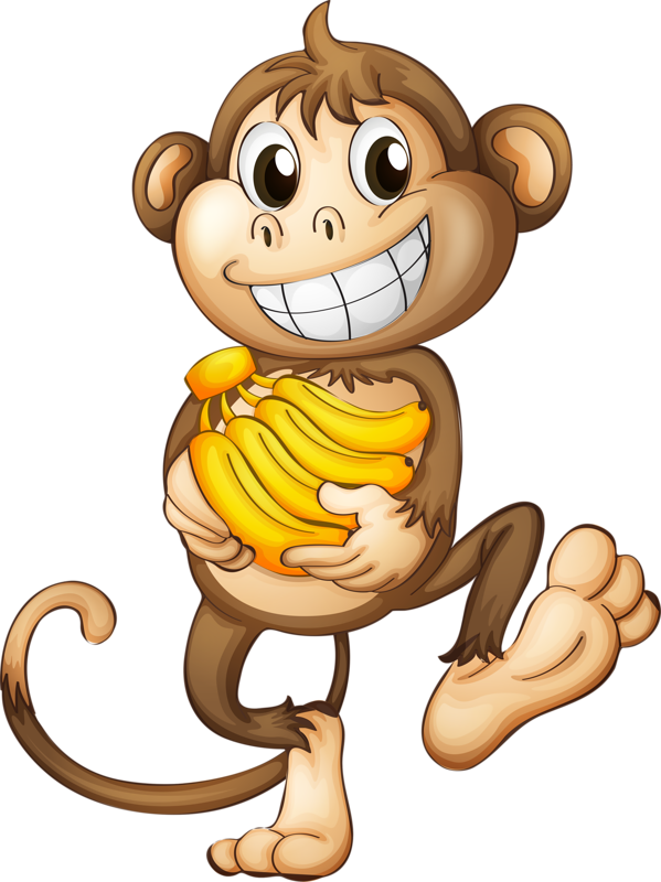 Monkeys eating bananas clipart png. Singes tubes pre felt