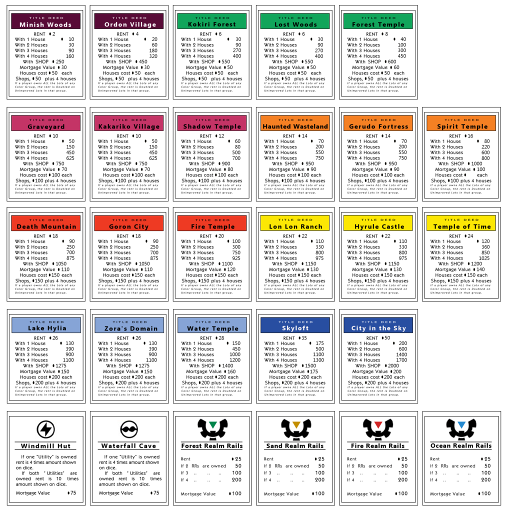 Monopoly cards png. Properties zelda by games