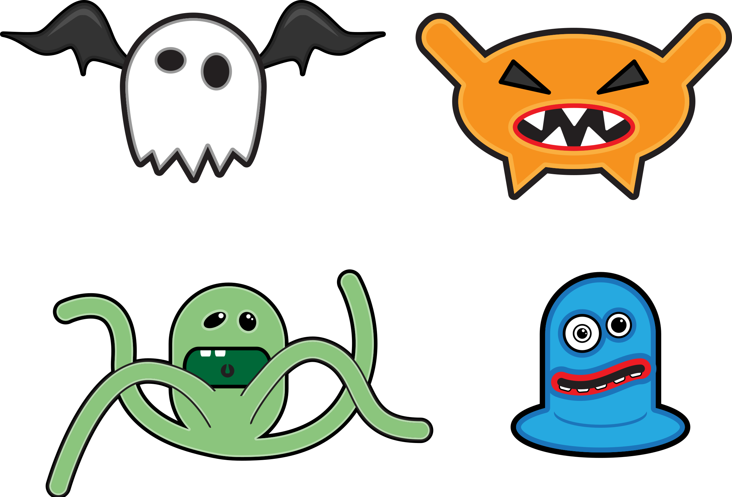 Scary clip the ring. Cartoon monsters icons png
