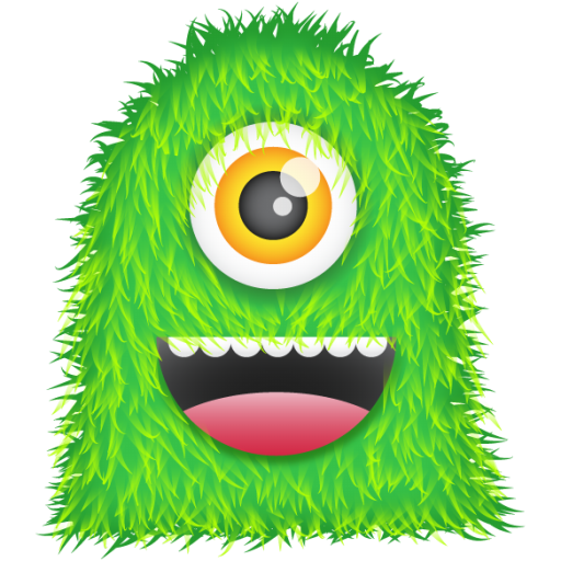 Monster clip cyclops. Mania hairy green icon