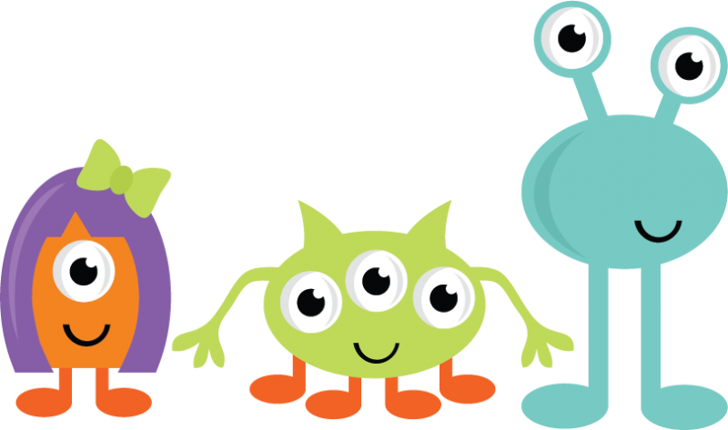 Monster clip group. Fluffy clipart pencil and