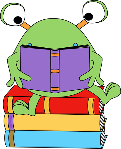 Read clipart. Two eyed monster reading