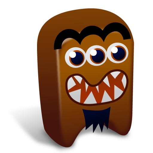 Monster clipart brown monster. With three eyes icon
