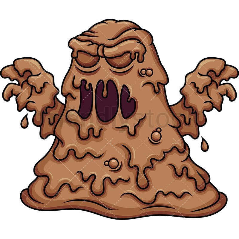 Monster clipart brown monster. Mud cartoon vector royalty