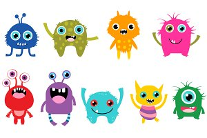 Monster clipart lil monster. Cute little monsters set