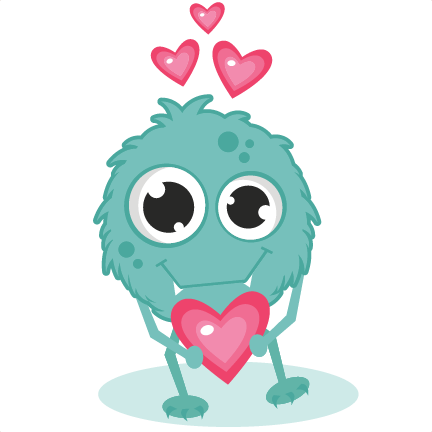 Monster clipart valentines. In love svg cutting
