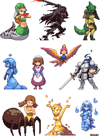 Monster sprite png. Girl sprites part by