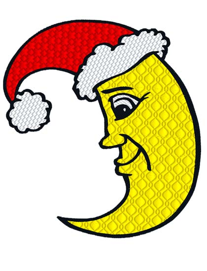 Moon clipart christmas. Embroidery direct