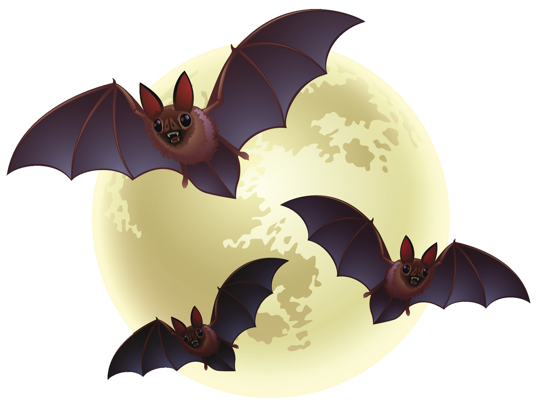 Moon clipart creepy. Halloween with bats png