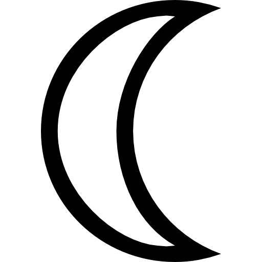 Moon shape png. Crescent phase outlined free