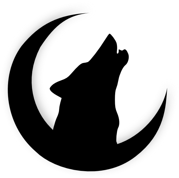 Moon silhouette png. Coyote baying at the