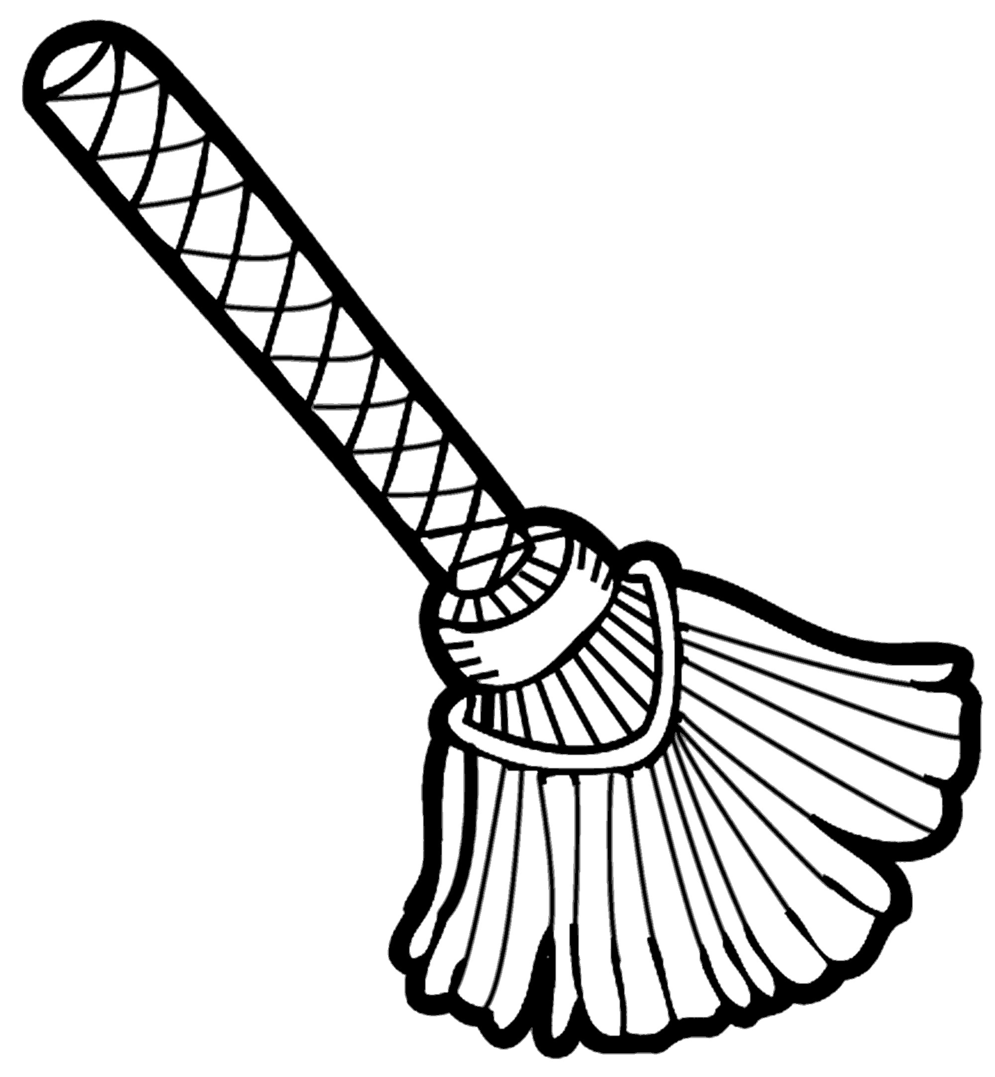 Broom clipart coloring page. Black and white panda