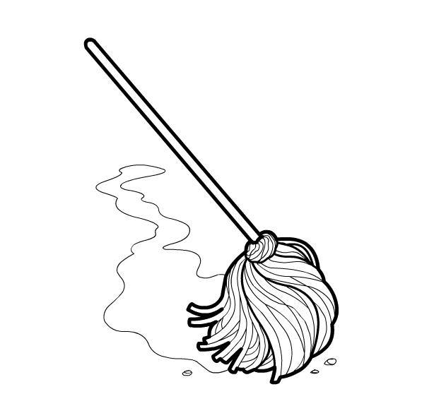 Mop clipart outline. Black and white