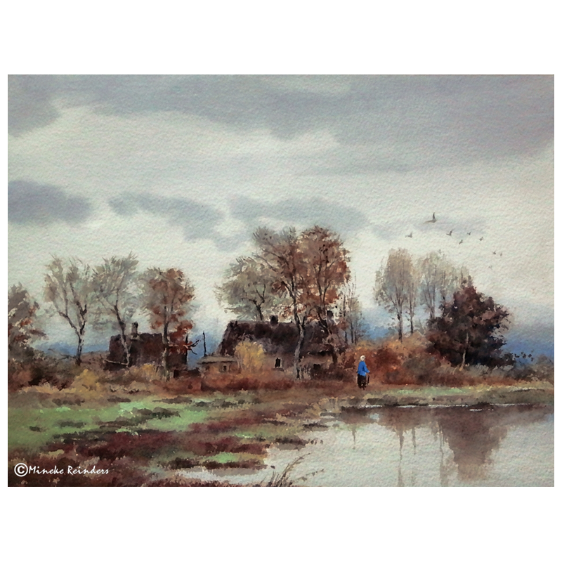 Morning drawing scenery. In the autumn of