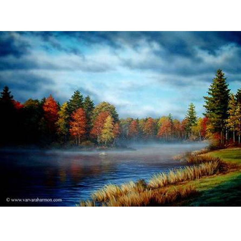 Morning drawing scenery. Autumn on ossipee river