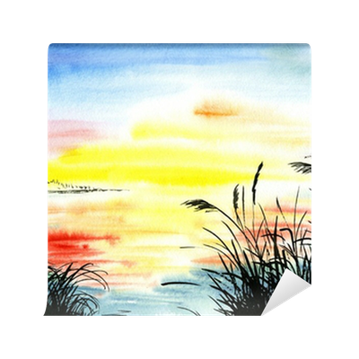 Morning drawing sunset. Watercolor landscape wall mural