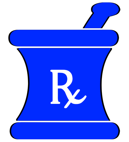 Mortar and pestle clipart pharmacy. Medical blue rx category