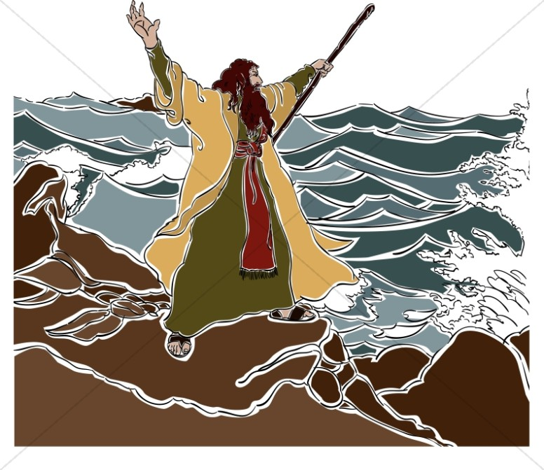 Moses clipart red sea. Stands on the shore