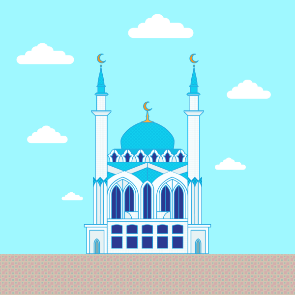 Mosque. Flat design building