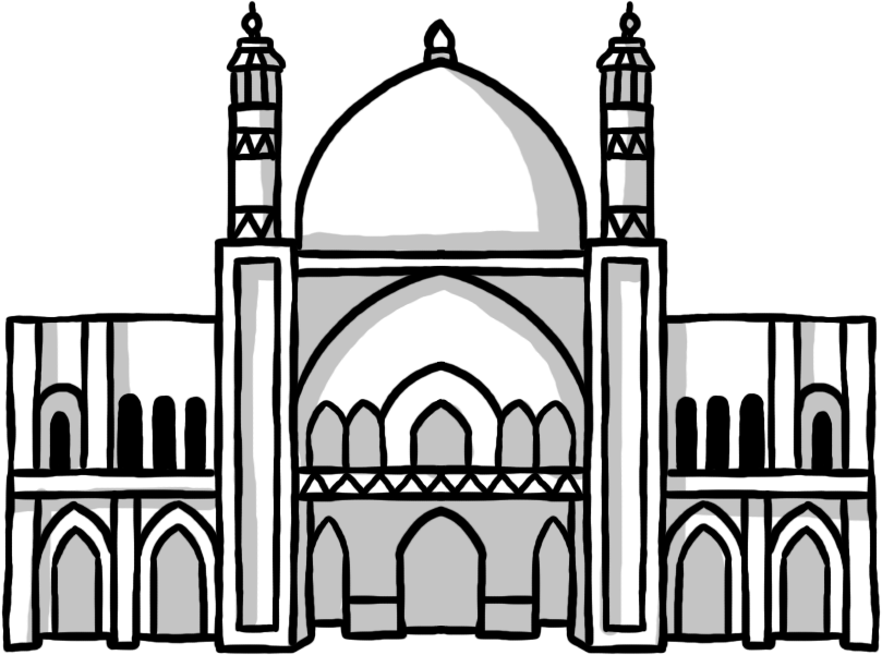 Mosque clipart sketch. Drawn basic free