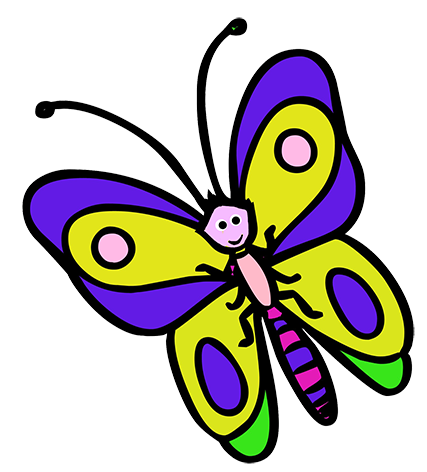 Drawing spring purple butterfly. Clipart cute png kids