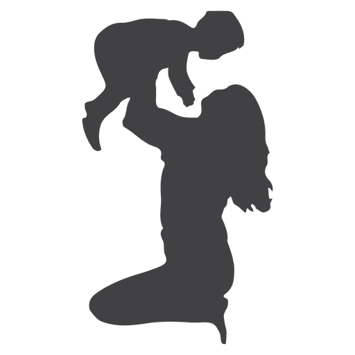 Mother and child png. Lifting silhouette transparent svg