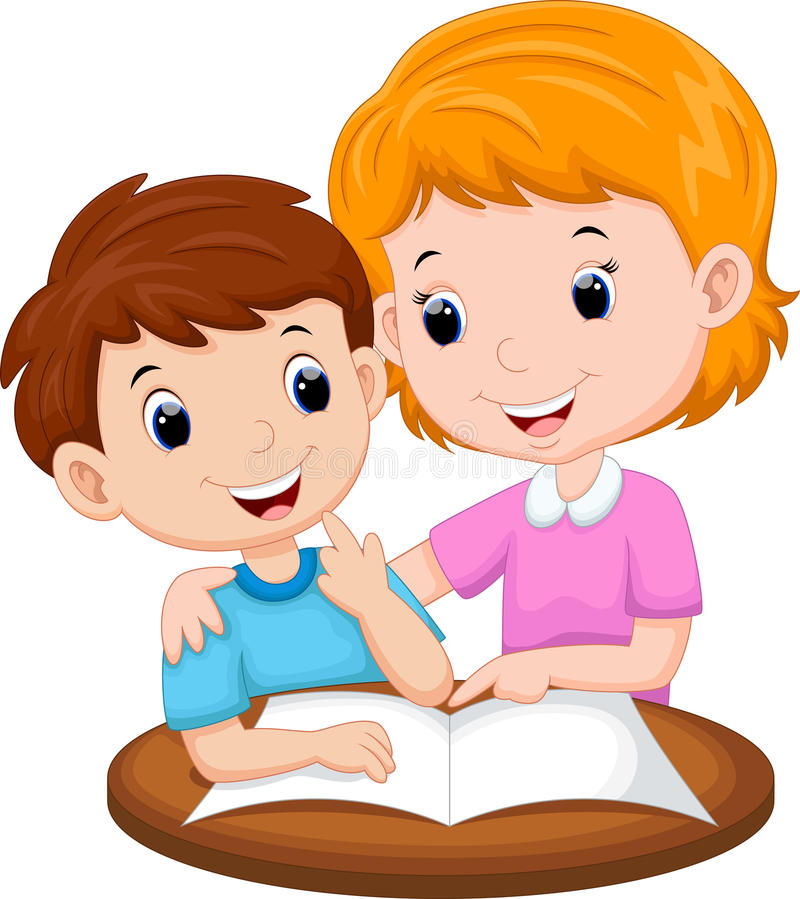 Mother teaching her child stock illustration. Illustration of ...