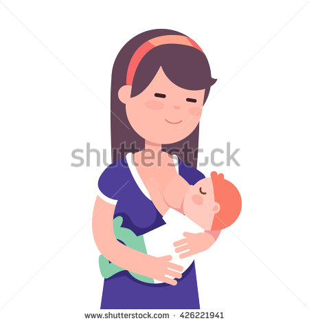Beautiful breastfeeding her child. Mother clipart baby care free stock