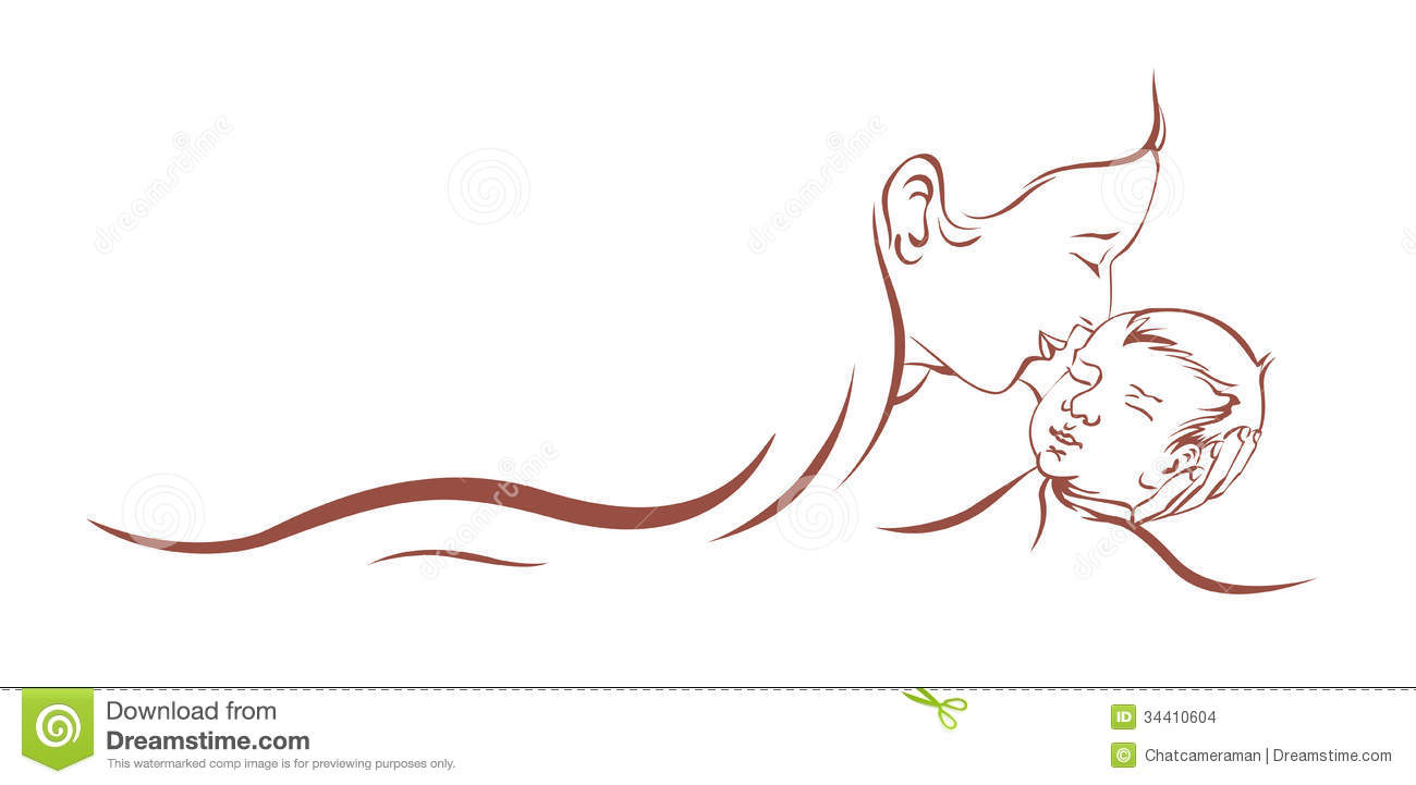 Child stock illustration of. Mother clipart baby care picture black and white library