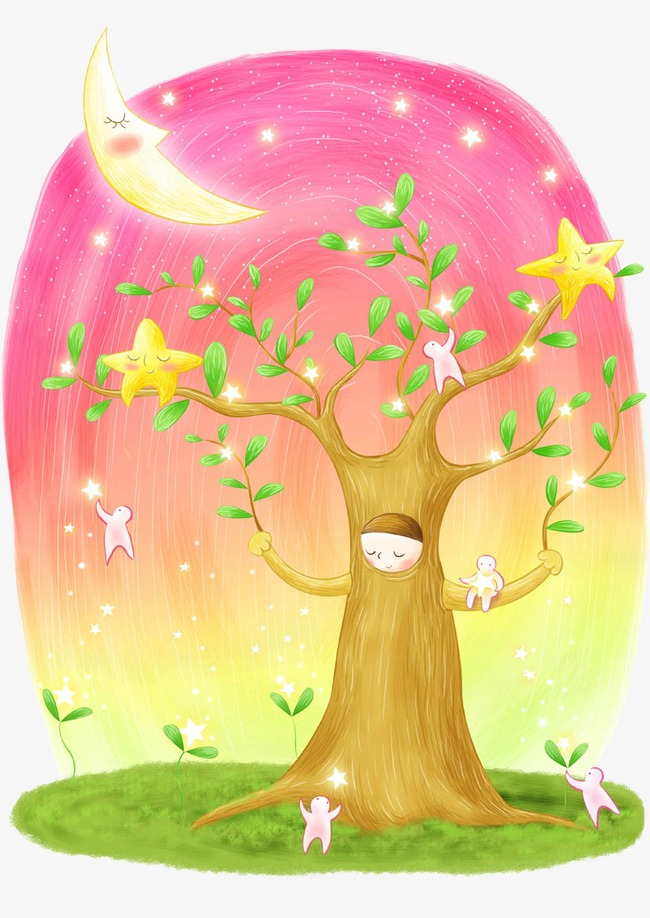 Mother clipart fairy. Tree tale hand painted vector free stock