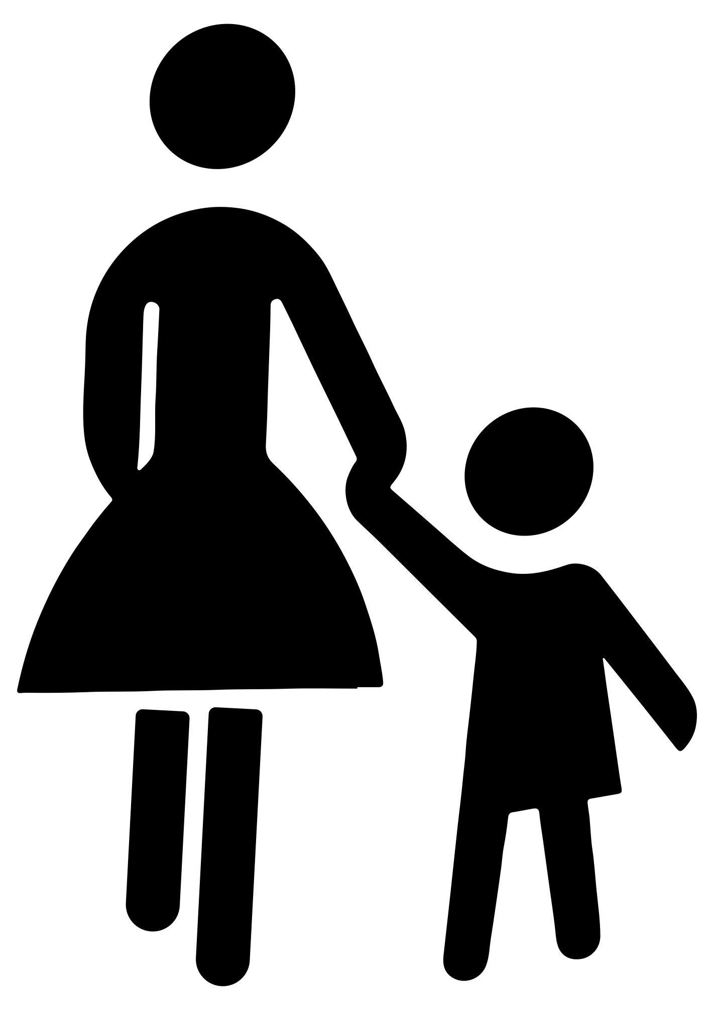 Mother clipart kid. Clip art child silhouette