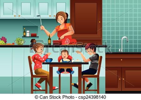 Mother clipart kitchen clipart. Busy in the with clip art free