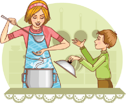 Mother clipart kitchen clipart. And son tests food image library library