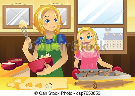 Mother clipart kitchen clipart. Daughter baking cookies a clip transparent download