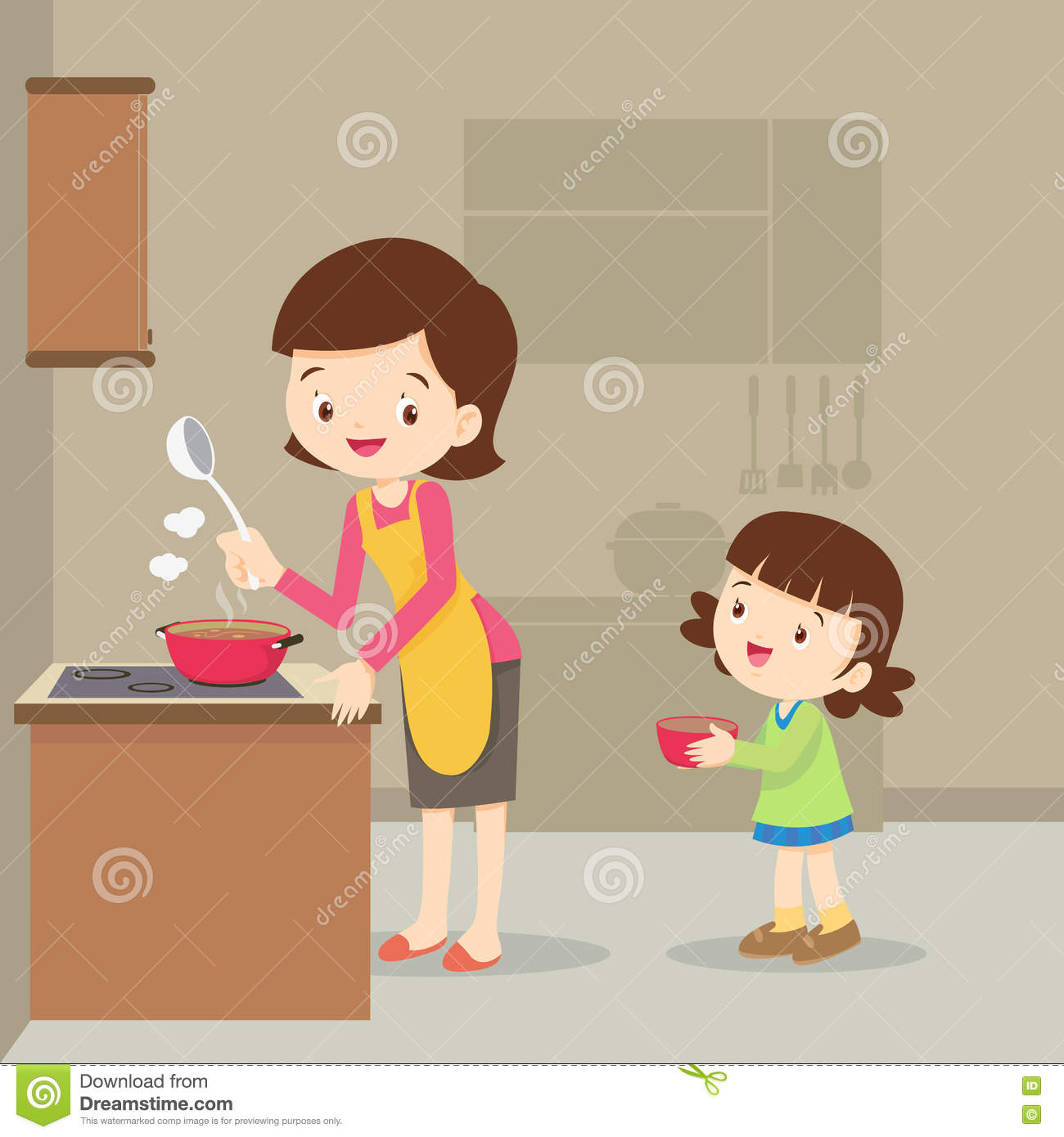 Mother clipart kitchen clipart. Girl and cooking in clip library